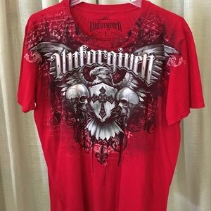 Unforgiven Graphic Tee Shirt Skulls Eagle Crest L